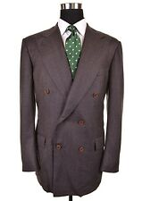KITON Brown DOUBLE BREASTED Nailhead Wool 2pc Suit Jacket Pants IT 54 US 44 R