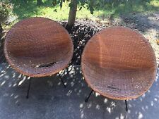 Vintage Rattan Bamboo Iron Scoop Hoop Chair Patio Tiki Mid Century Modern Pair
