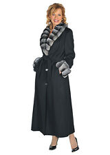 Womens Plus Size Long Black Cashmere Coat Natural Chinchilla Fur Collar & Cuffs