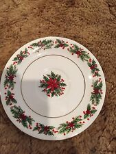 "Lynns Fine China ""Holly Wreath "" Saucer- 6"" Diameter"