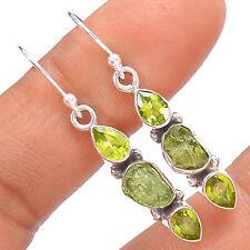 Moldavite & Peridot 925 Sterling Silver Earrings Jewelry SE139057