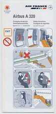 AIR FRANCE airlines Airbus A320 Safety Card Ref. 9005478 01/2008 - sc602
