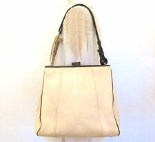 100%Auth YSL YVES SAINT LAURENT Canvas Leather Mombasa Shoulder Bag Beige Italy