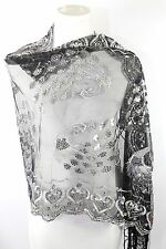 B56 Peacock Black Silver Lace Sequin Heart  Embroidery Scarf Shawl Wrap $129
