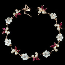 Sterling Silver 925 Rose Gold Coated Ruby Pearl Mother of Pearl Bracelet 7.5 In