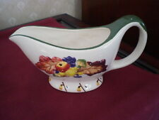 LARGE WHITE FOOTED GRAVY BOAT - FALL PATTERN - CERAMIC OR STONEWARE
