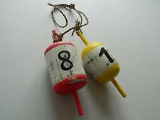 PAIR OF SHABBY CHIC DECORATIVE WOODEN BUOYS/FLOATS  NAUTICAL SEASIDE BEACH