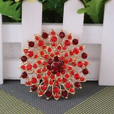 SPILLA DORATA STRASS ROSSI 6,5CM - Red Flower Gold Plated Brooch Pins