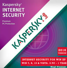 Genuine Kaspersky Internet Security 2016, 3 PC 1 Year for Window - License Key