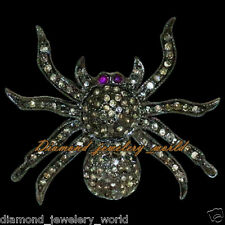 Vintage Estate 2.78cts Rose Cut Diamond Jewelry Ruby .925 Silver Spider Brooch