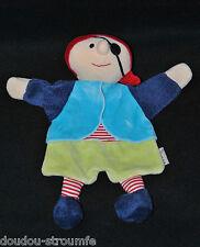Peluche Doudou Marionnette Pirate STERNTALER Bleu Vert Rouge Rayure NEUF