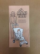 Vintage Maxi Taxi Stroller Original Instructions, with Replacement Parts Listing