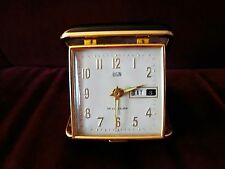 VINTAGE ELGIN TRAVEL ALARM CLOCK W/ MONTH DAY DATE - BLACK CASE, JAPAN very nice