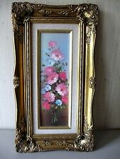 VTG daisy Original Painting signed by Robert Cox ornate GOLD frame 9.5 x 17.5