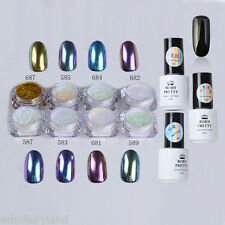 12pcs Nail Art Black Gel Polish Chameleon Chrome Dust Mirror Glitter Powder DIY