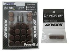 WORK Lug Lock nuts set for 5H 12x1.25 and 4pcs Air Valve caps Brown Value set