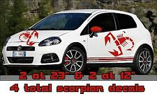 set of 4 Large Vinyl Scorpion scorpian decal graphics fit any Fiat 500 Abarth 4