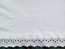 VINTAGE EMBROIDERED WHITE COTTON NIGHT DRESS CASE / HANDKERCHIEF STOCKINGS