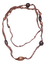 PECAN NUT NECKLACE,  MOCHA BROWN WOVEN NECKLACE BEADED ACCENTS (ZX54)
