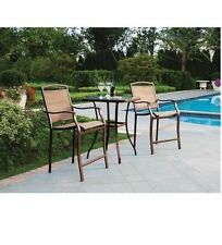 Bistro Table Bar High Chair Set 3-Pieces Outdoor Patio Furniture Deck