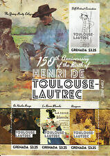 Grenade 2014 neuf sans charnière Henri de Toulouse-Lautrec 150e anniv naissance 4V SMS II gueule de bois
