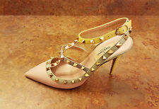 Valentino 'Rockstud' T-Strap Pump Pink Silver Womens Size 7 US 37 Eur MSRP $1145