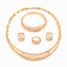 18K Gold Plated African Necklace Jewelry Set Christmas Costume Necklace Set