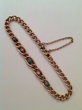 Pretty Antique 9ct Rose Gold Turquoise & Seed Pearl Set Curblink Bracelet