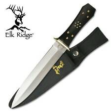 "Elk Ridge Outdoor Fixed Blade Knife Hunter 13"" Black Double Edge Dagger 105"