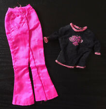 Barbie Doll Clothes Fashion Avenue Pink Silky Pants Black Fish Net Top