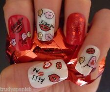 Valentines Nail Art Stickers Decals Transfers Lips Love Hearts Nail Decoration