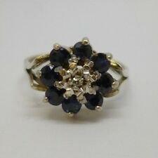 VALENTINES 9ct White Gold & Blue Sapphire & Diamond Flower Cluster Dress Ring