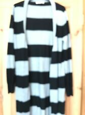 Ladies Black And Grey Thick Stripe Cardigan From Oasis Size Medium