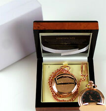 JOHN LENNON 18k Rose Gold Clad POCKET WATCH Lux Walnut Wooden Case Ltd Edition