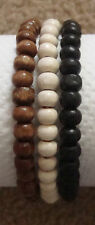 Set of 3 Ladies Wooden Bead Tribal / Surfer Elastic Bracelet - Black White Brown