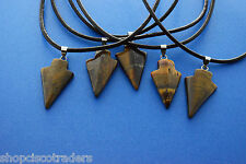 Golden Tiger Eye Arrowhead Pendant Necklace A059-4 Healing Crystal Yin Yang