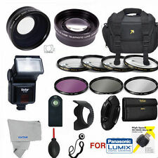LUMIX DMC-FZ1000 WIDE ANGLE LENS TELEPHOTO ZOOM LENS FLASH CASE FILTERS PRO KIT