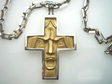 18K Gold Cross with Silver Chain. Face 18K Green Matte Finish Gold