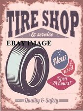 TIRE SHOP AND SERVICE (AMERICAN) METAL SIGN RETRO VINTAGE STYLE SMALL garage tin
