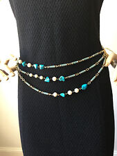 "NEW ST JOHN KNIT WOMENS CHAIN BELT OR NECKLACE 25"" TO 40"" GOLD BLUE  PEARL"
