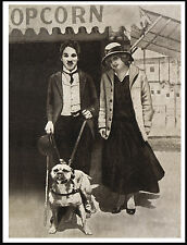 CHARLIE CHAPLIN AND HIS STAFFORDSHIRE BULL TERRIER LOVELY DOG PRINT POSTER