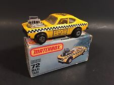 1981 VINTAGE MATCHBOX 72 MAXI TAXI FORD CAPRI NY YELLOW CAB ORIGINAL BOX 1:64