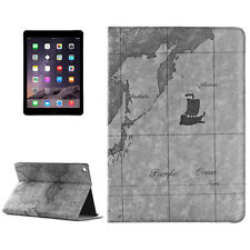 Apple iPad Air 2 Funda Protectora Carcasa Estuche Aspecto Cuero MAPA MUNDIAL