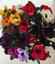 Artificial Silk Flowers - 5 X Bunches Of Mixed Anemones  Poppy Pansie 35 Heads