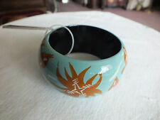 "Beautiful Bangle Bracelet Turquoise Brown White 2 5/8 x 1 5/8"" Original Tag NICE"