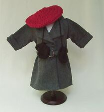 """American Girl 18"""" KIT Retired GRAY BELTED WINTER COAT REPRO w BERET and MITTENS"""