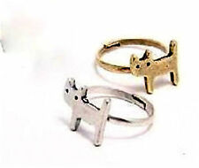 Vintage style gold cat kitten adjustable charm ring