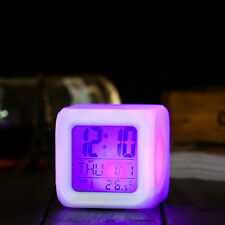 LED Digital 7 colors Change Alarm Clock Time Snooze Light Calendar Thermometer