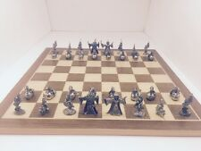 Pewter Fantasy chess set with crystals/Board And Dragon Storage Box
