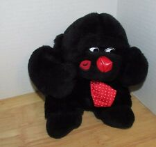 Black Gorilla Plush red nose tie lip kiss print cheek Valentine's day toy gift